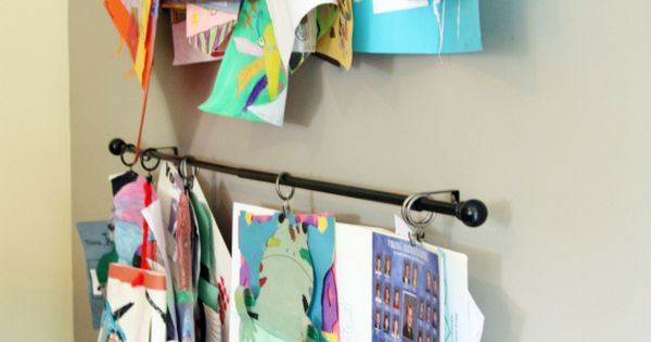 Kid's Art Display Idea - Curtain rods and drapery rings