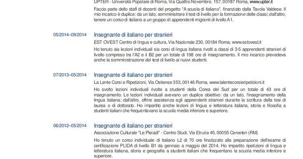 Risultati Immagini Per Esempio Cv Italiano Compilato Con Immagini
