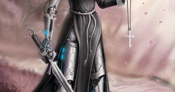 Women Warrior Artwork Sword Rain Cyberpunk Cyberpunk: Cyber Nun By Linblack On DeviantArt