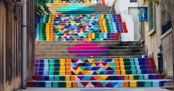 Rainbow street art steps in Beirut, Lebanon.