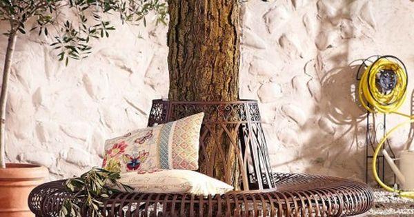 baumbank metall, gartenbank halbrund, gartenbank metall, garten, Gartenarbeit ideen