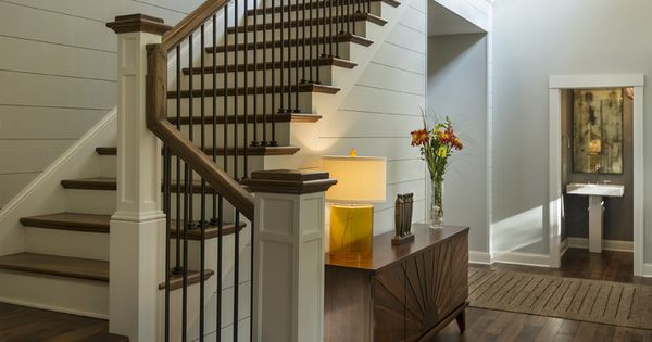 75 Most Popular Staircase Design Ideas For 2019: Entryway With Rustic Wood Floors, L-shaped Stairway