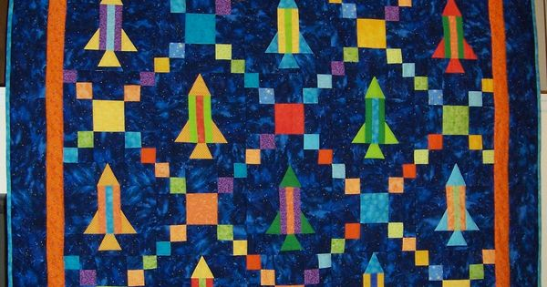 Rocket ship quilt with a single irish chain pattern for Space shuttle quilt