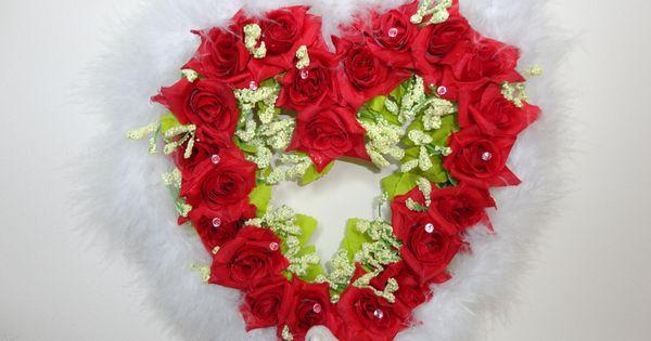 C ur rouge en plume st valentin d coration de mariage for Decoration porte rouge