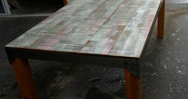 Mesa de comedor de 200x100 cm en madera de pino y for Mesa comedor hormigon