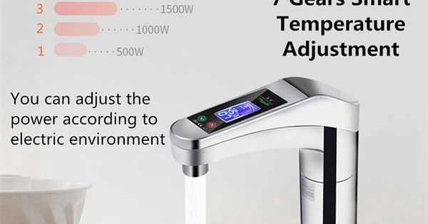 Intelligent Automatic Lcd Display Instant Electric Water Heating Faucet Instantaneous Instant Tankless Water Heater Hot Tap Eu P Tankless Water Heater Water Heating Water Heater