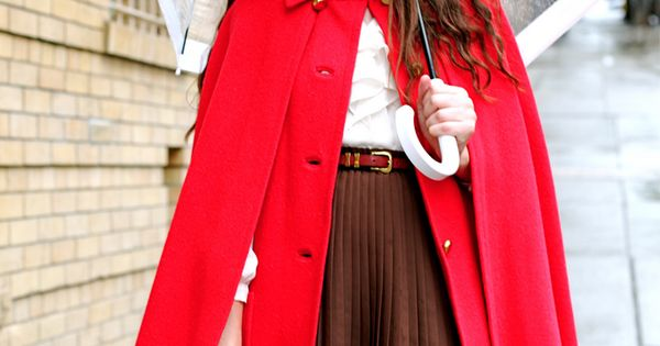 Rainy day style: love a red cape so I can feel like