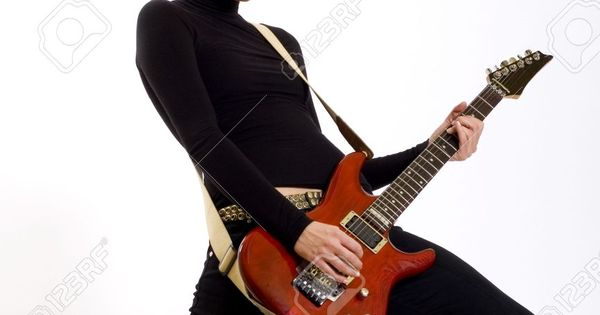 5293613 Passionate Girl Playing Her Electric Guitar Stock