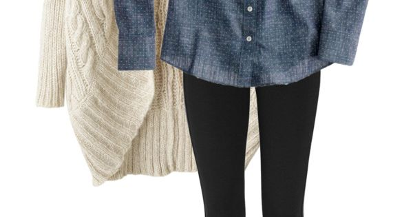 fall outfit. black leggings, denim shirt, scarf, white chunky sweater, brown knee