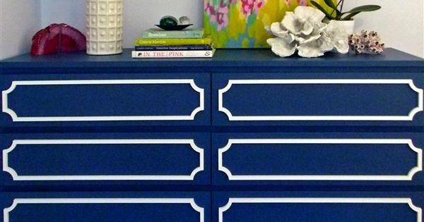 Dress up IKEA furniture with overlays. I also love the painting on
