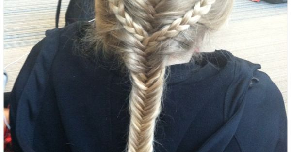 two french braids that continued as normal braids which