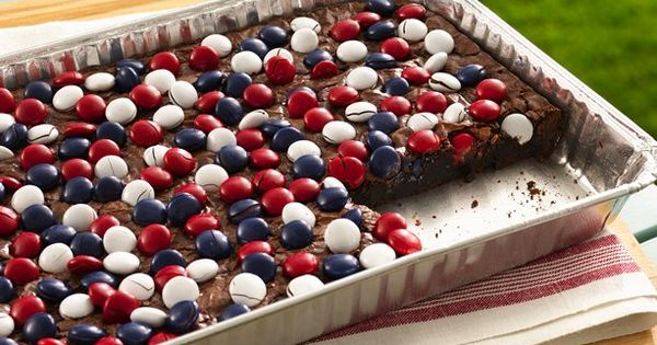 Red, White Blue Candy topped Brownies