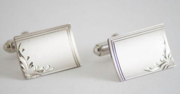 Vintage Cufflinks Reflective Art Deco Design by CuffsandClips