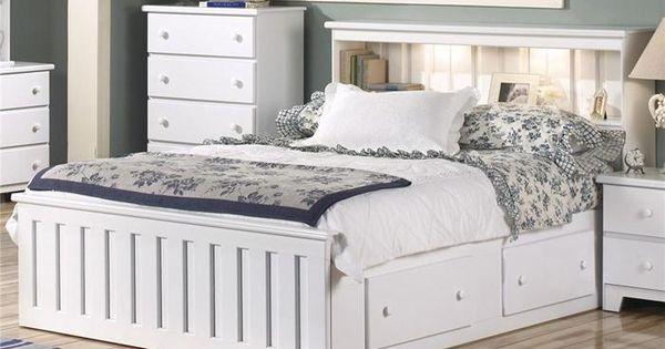 Shaker Queen Captain Bookcase Bed In White Nebraska