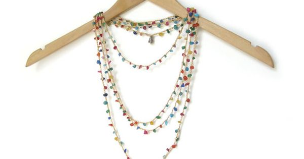 Multicolor Necklace with Natural Gemstone Chips by ElvishThings #necklace #boho #bohemian #stone #gemstons #multicolor #golden #crochet #hippie #layering #beaded