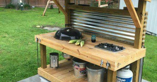 Outside cooking station!  Outside entertainment  Pinterest  싱크대, 정원 및 ...