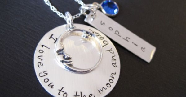 Hand stamped jewelry Ultimate I Love You To the Moon and Back