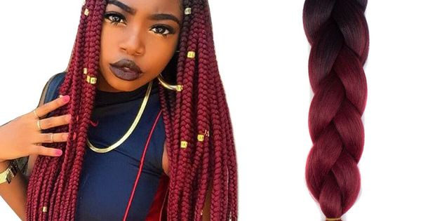 24 Quot Black Wine Red Jumbo Braids Hair Ombre Synthetic