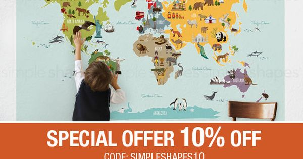 Summer Sale World Map Peel And Stick Poster Sticker