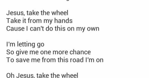 jesus take the wheel lyrics pdf