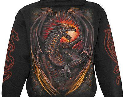 Spiral Direct DRAGON FURNACE Hooded,Biker//Dragon//Skull//Metal//Rock//Fire//Hoody