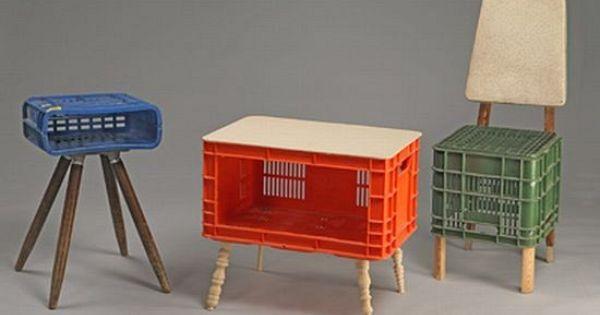 Reciclar reciclaje usa cajas de pl stico como sillas o - Mesas y sillas de plastico ...