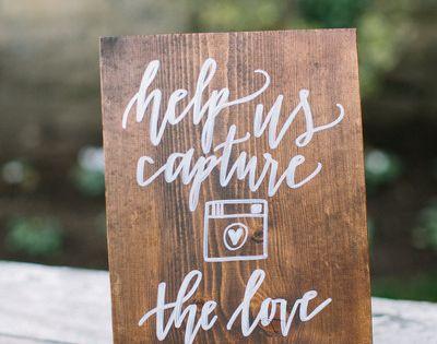 Ethereal california inn wedding hashtag sign