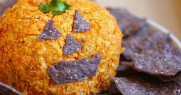Jack-o-lantern nacho cheese ball :) YUM @Malissa Lincoln You should take this