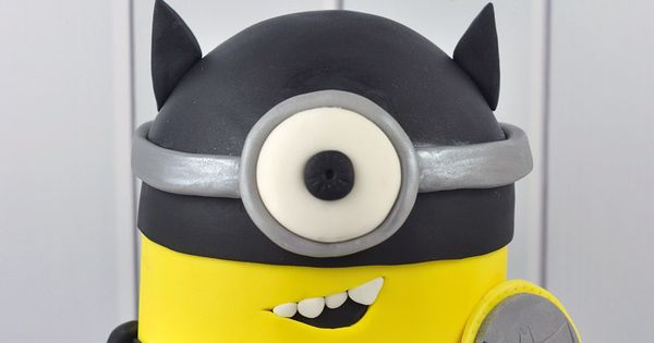 Look at this super fun Batman themed Minion cake that we created;