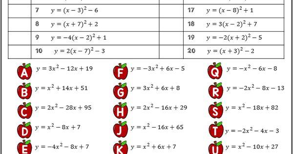 writing quadratic equations in vertex form