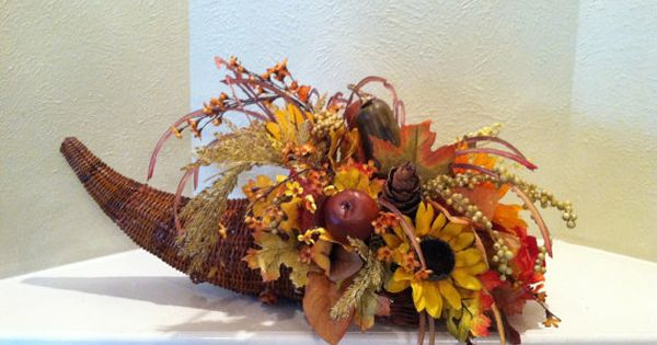 Cornucopia Basket Faux Floral Centerpiece Thanksgiving