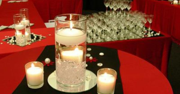 Red Black And Gold Themed Centerpieces And Table Decorations Red Gold Wedding Decorations Red Centerpieces Gold Wedding Decorations