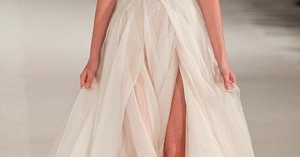 Can't tell if I like the dress, or just the way it looks on the model. | Paolo Sebastian Swan Lake Wedding Dress with Nude Bustier - Nearly Newlywed Wedding Dress Shop