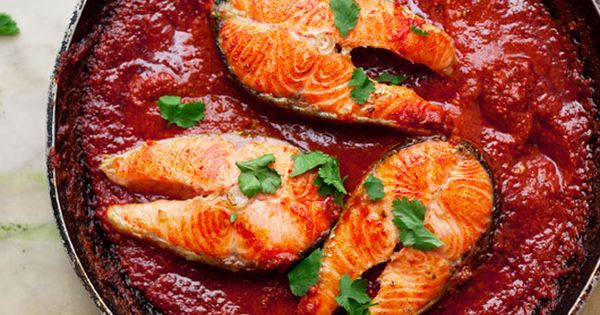 Salmon Steaks with Spicy Tomato Sauce Recipe - Bon Appétit