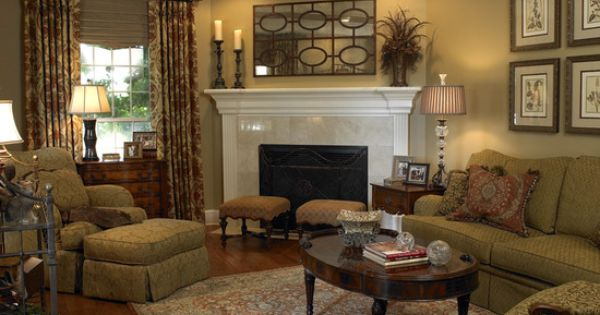 Traditional Living Room Corner Fireplaces Design Pictures