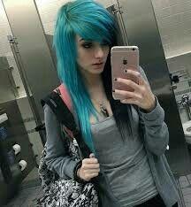 Emo Hair Alex Dorame Half Blue And Half Black Emo Girl