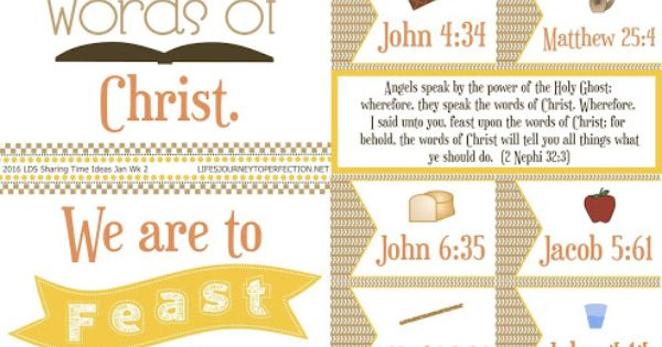 1000 Images About Feast On The Word: 2016 LDS Sharing Time Ideas For January Week 2: We Are To