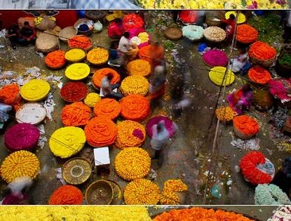 Flower markets in India, from Huffington Post: Get Ready For Spring With