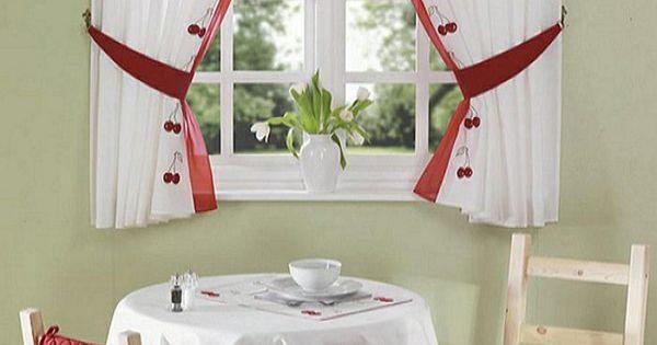 sch ne gardinen k chenfenster retro kirschen motive. Black Bedroom Furniture Sets. Home Design Ideas
