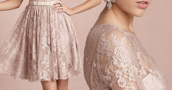 bhldn bridal 2013 tea rose short lace wedding dress sleeves