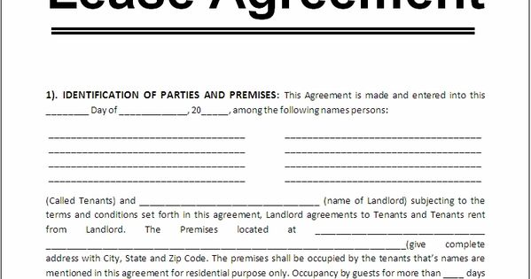 Sample Lease Agreement For Renting A House Google Search