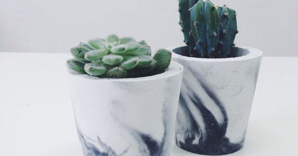 Small black marbled cement pots / planters for cactus, succulents or candles