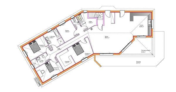 mod les et plans de maisons mod le de plain pied inspiration sous sol en v constructions. Black Bedroom Furniture Sets. Home Design Ideas
