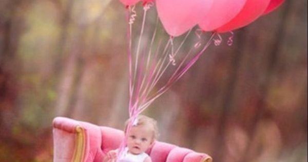First Birthday Photo Idea / Inspiration. Pink Balloons
