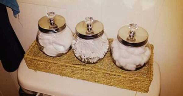 Bathroom decor glass jars from dollar tree and crystal for Bathroom decor dollar tree
