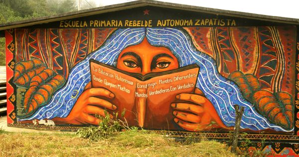 39 the zapatista primary school with a book functioning as for Mural zapatista