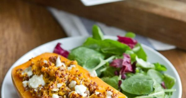 Twice Baked Butternut Squash (with quinoa and gorgonzola)...who is coming over for