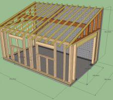Realisation Garage Ossature Bois Les Photos De La Construction Plan Cabane En Bois Ossature Bois Construction Maison Bois