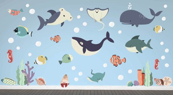 Ocean Animal Whale Fish Wall Decals Kids Stickers Peel Stick