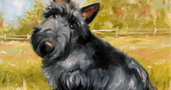 Print Scottish Terrier Scottie Dog Puppy Art Oil Painting Mary